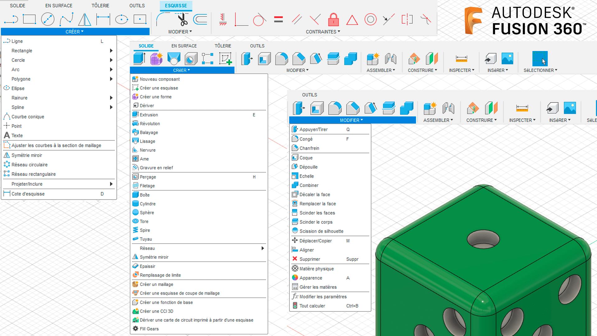 Fonctionnalités Autodesk Fusion 360