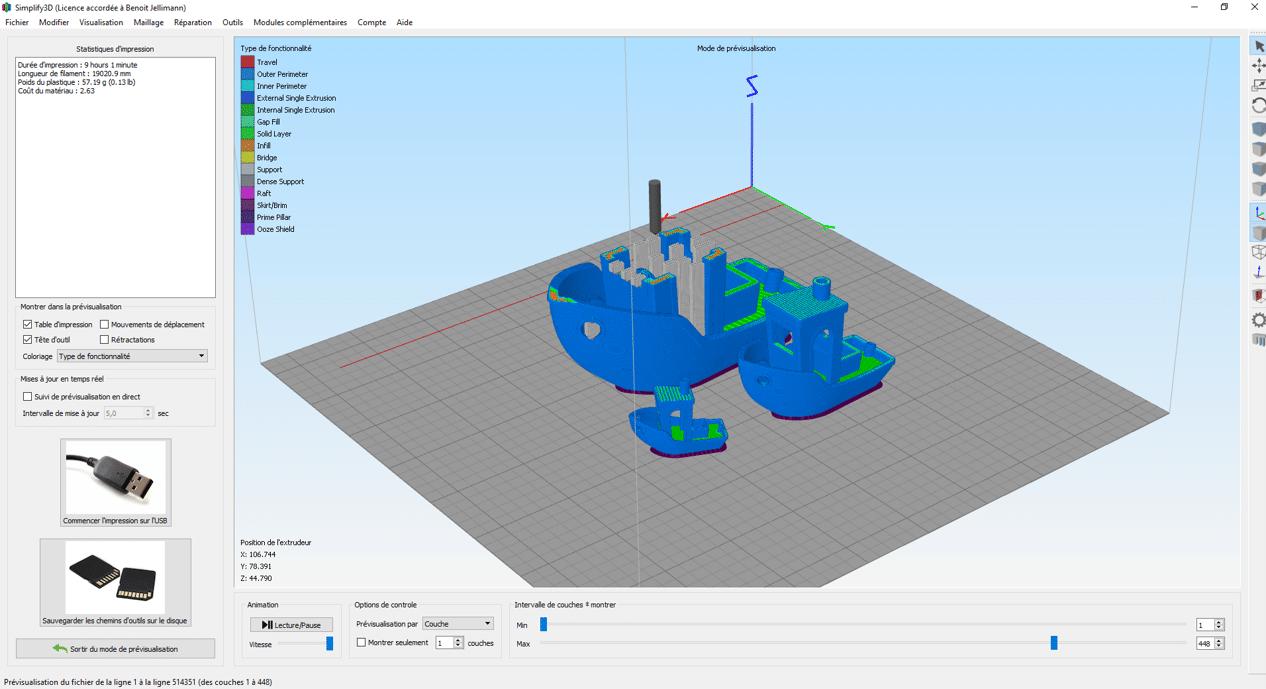 Prévisualisation sur plusieurs Benchy sur Simplify3D