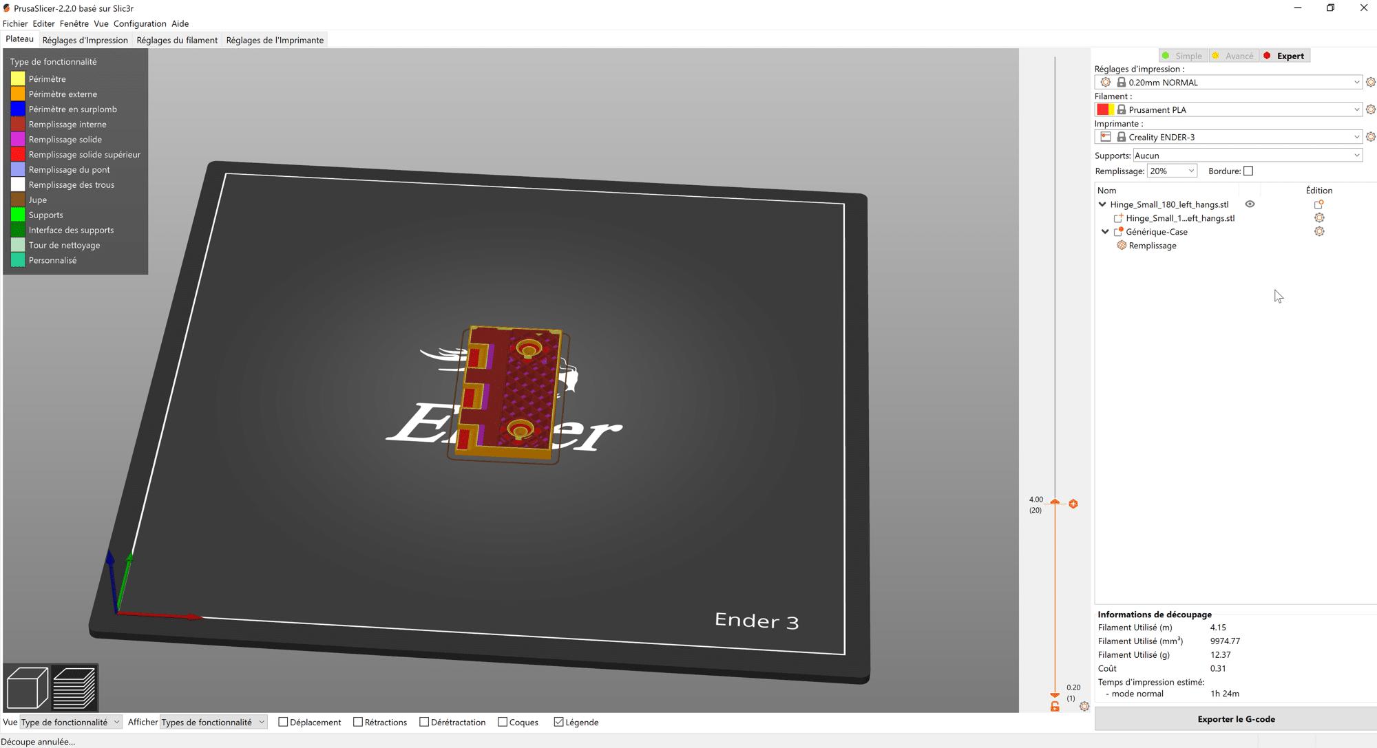 Prévisualisation d'un charnière sur PrusaSlicer