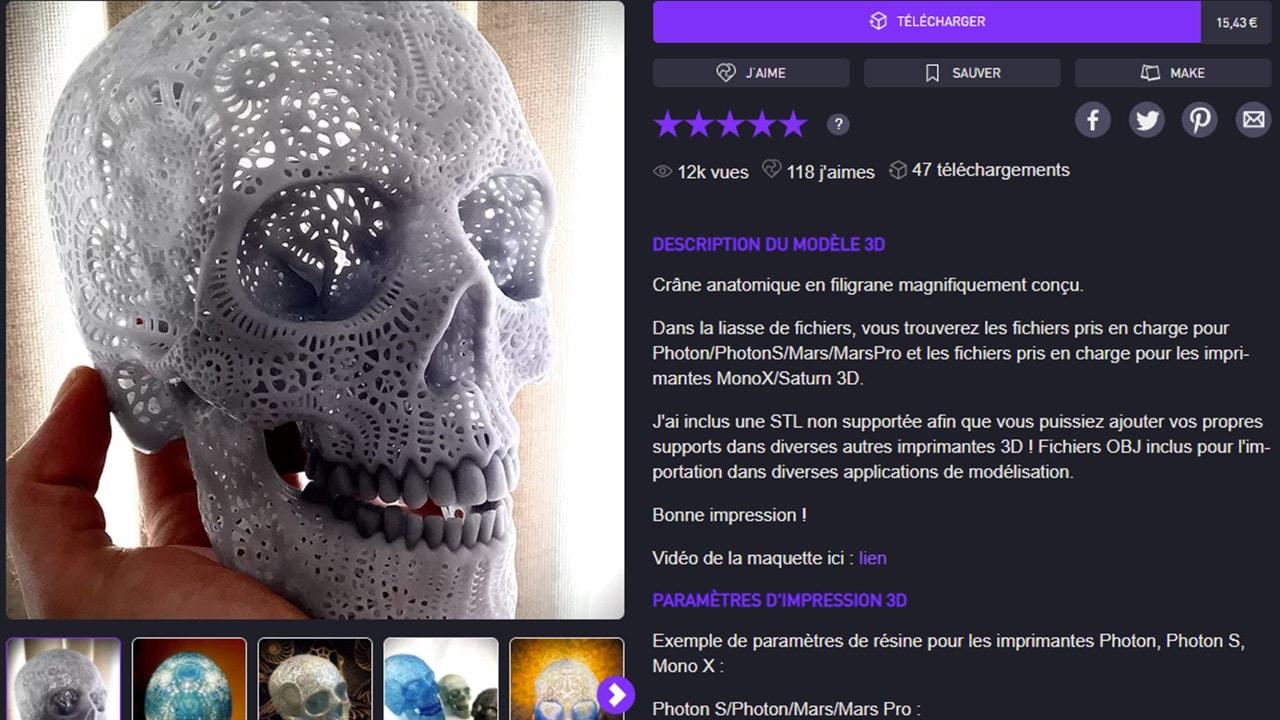 Cults3D est une plateforme de référence pour vos modèles 3D