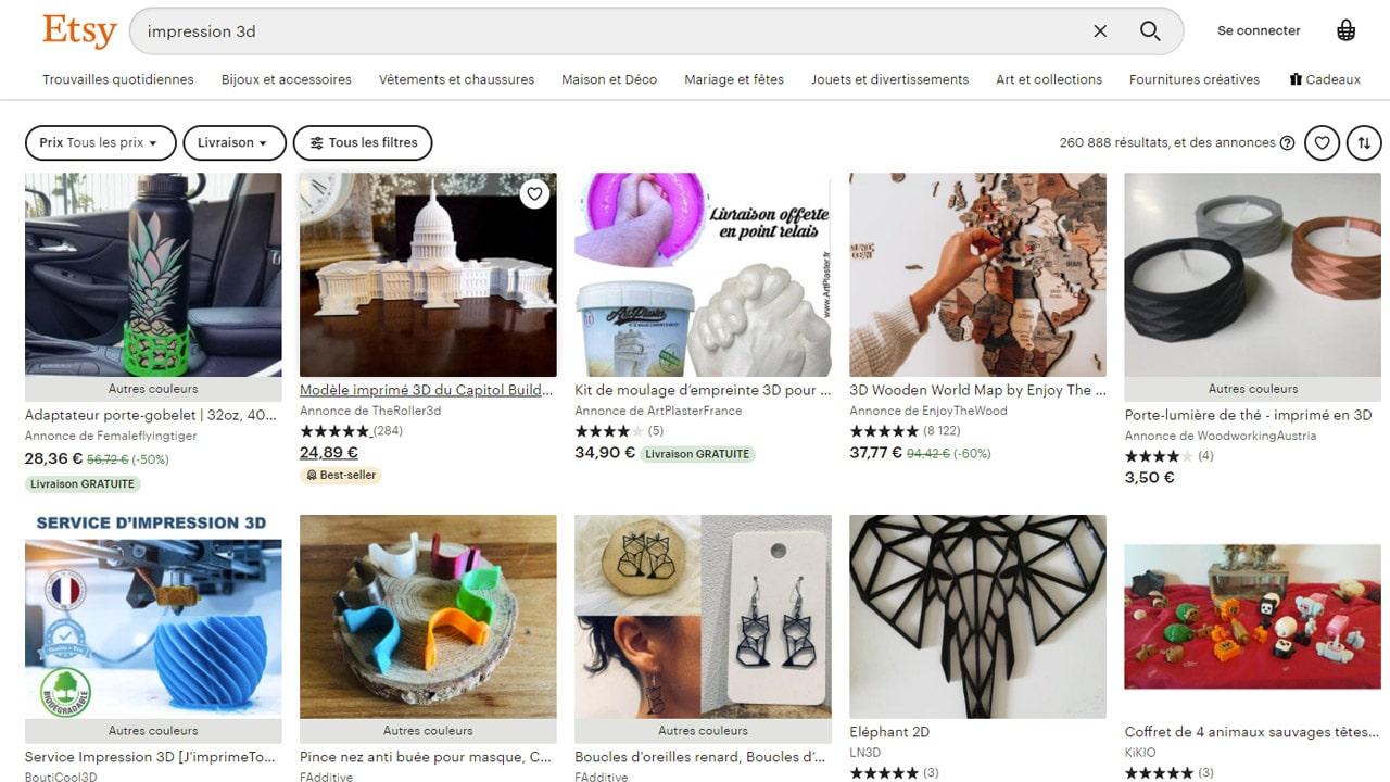 Etsy.com, une place de marché d'objets faits main.